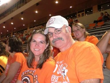 my dad at football game