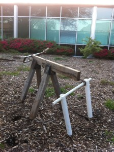 This is a roping dummy some of our students made this semester. Yes, it's made from a bicycle handle.