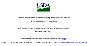 USDA Agriculture Government Shutdown