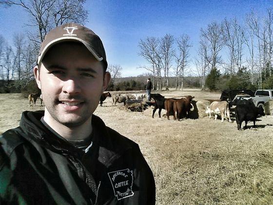 ranching farming selfie feeding cows hay