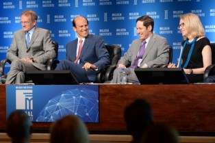 "Michael Milken of the Institute (second from left) with ""Prevention and Wellness"" panelists (from left) Troyen Brennan of CVS Caremark, CDC Director Thomas Frieden and Lynn Goldman of the Milken Institute School of Public Health at George Washington University. Image via Milken Institute."