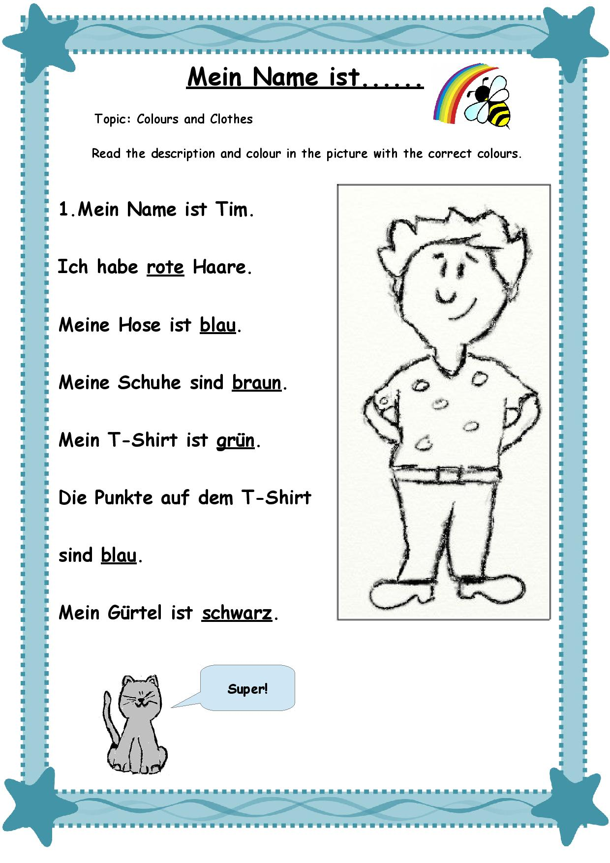 German Worksheets For Kids