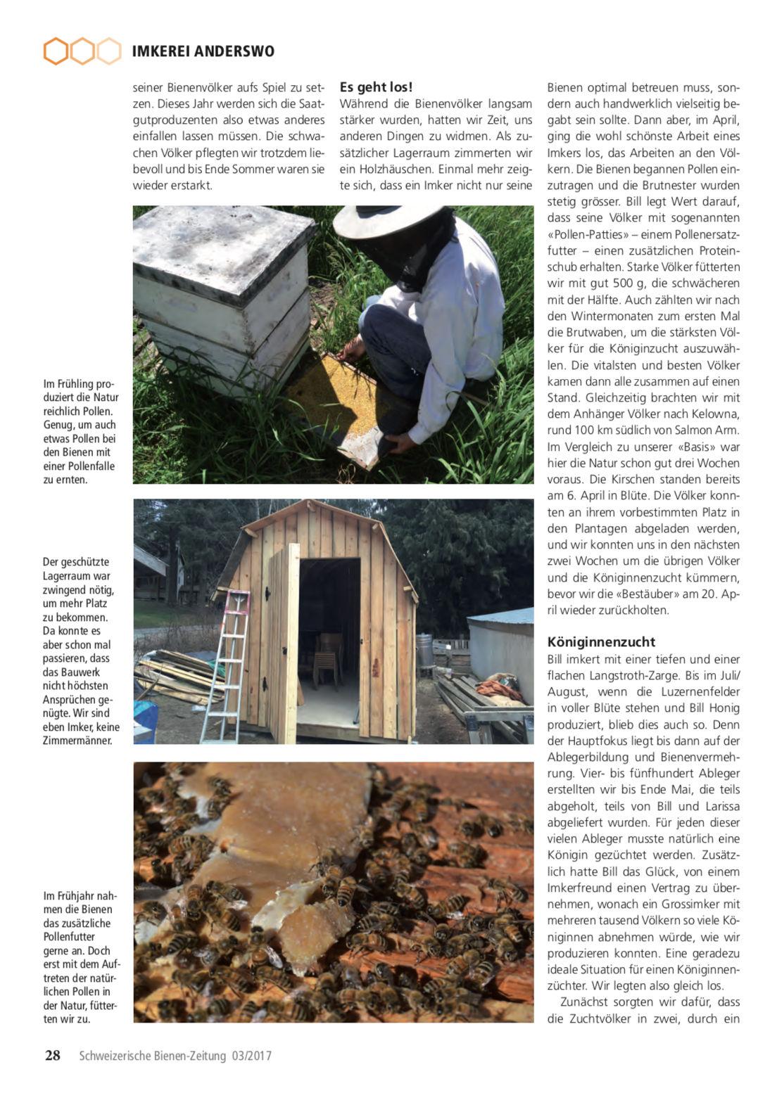 Artikel Imker auf Weltreise-dritte Station: Kanada Seite 3 Schweizerische Bienenzeitung Felix Mrowka