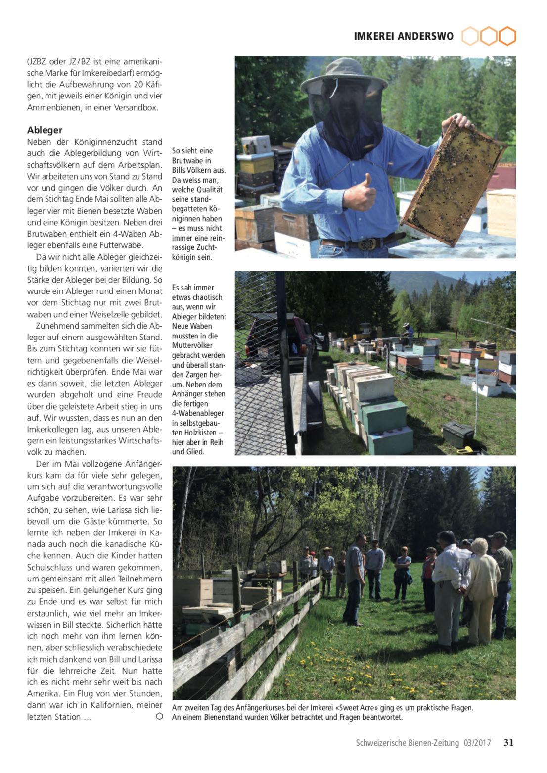 Artikel Imker auf Weltreise-dritte Station: Kanada Seite 6 Schweizerische Bienenzeitung Felix Mrowka