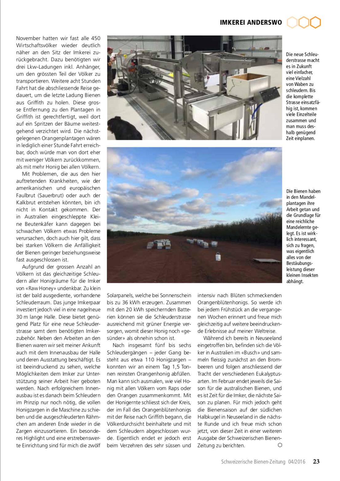 Artikel Imker auf Weltreise-erste Station: Australien Seite 4 Schweizerische Bienenzeitung Felix Mrowka