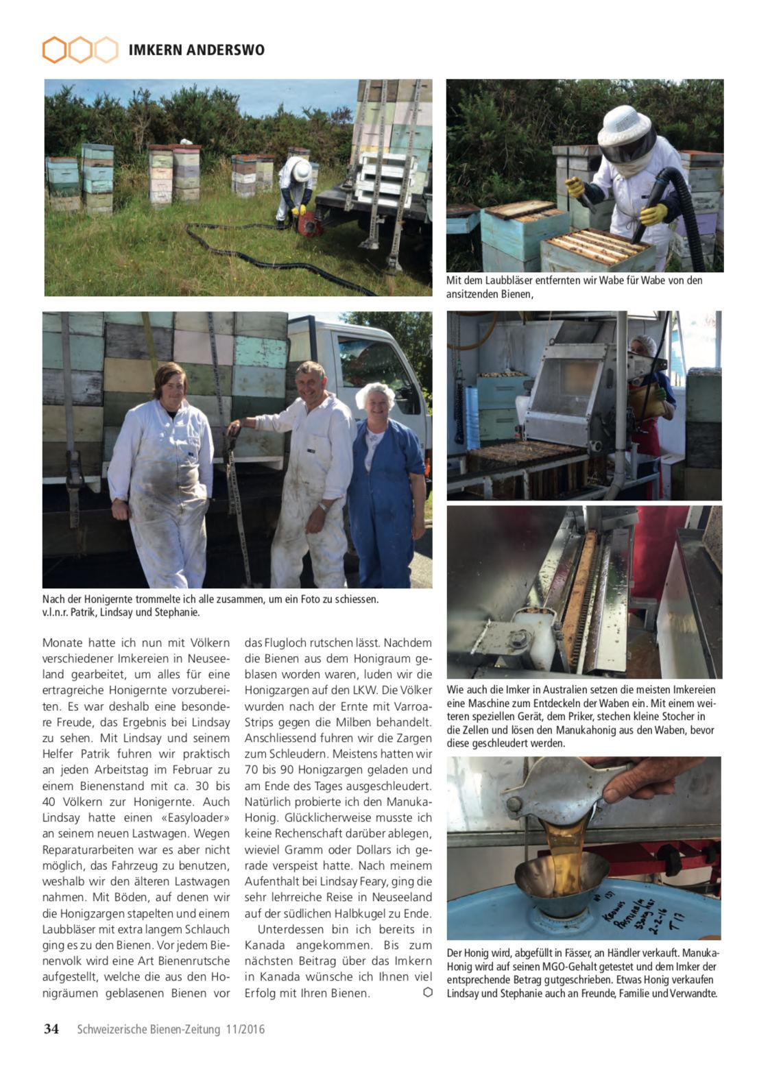 Artikel Imker auf Weltreise-zweite Station: Neuseeland Seite 5 Schweizerische Bienenzeitung Felix Mrowka
