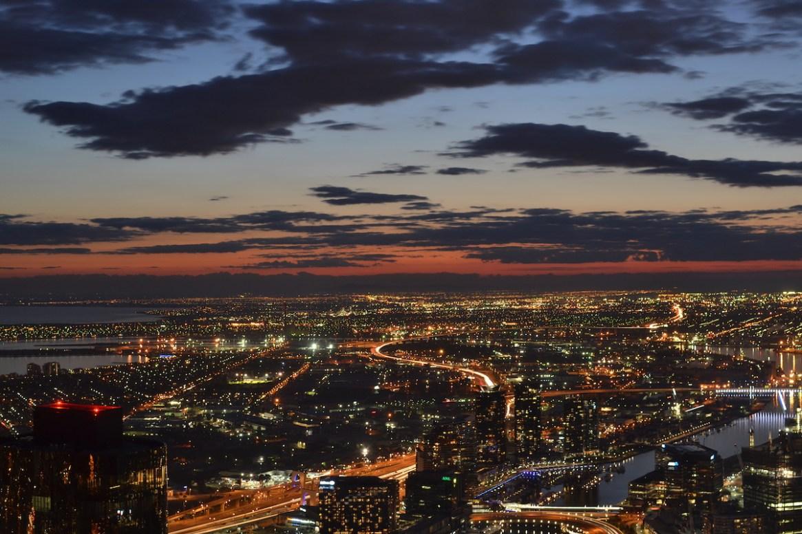 Melbourne bei Nacht vom Eurika Tower