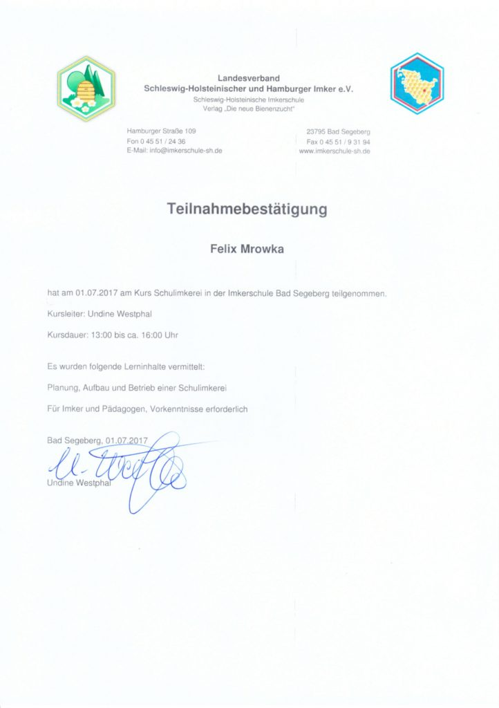 Teilnahmebestätigung Schulimkereikurs Imkerschule Segeberg Felix Mrowka