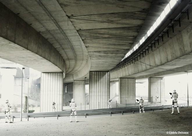 Stormtroopers under Bridge, Paris, 2004 - Dark Lens - Cédric Delsaux