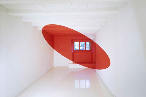 """Ellisse rossa piena per la finestra"" Galleria Primo Piano, Rome, Italie - 1995"