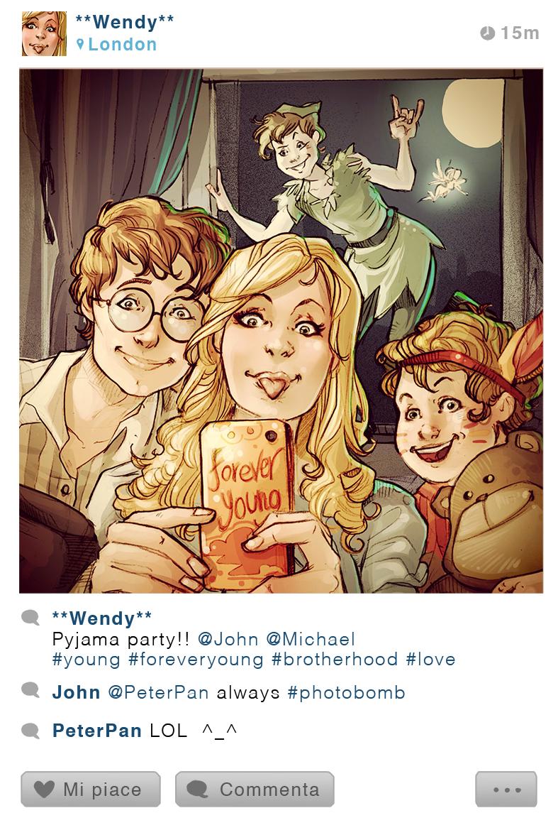 Wendy, Michel, Jean et Peter Pan - Peter Pan - Disney Selfie - Simona Bonafini