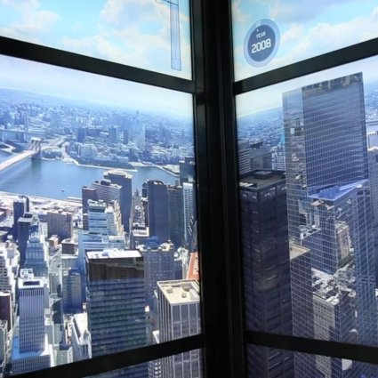 Un time-lapse de la ville de New York diffusé dans l'ascenseur du World Trade Center One