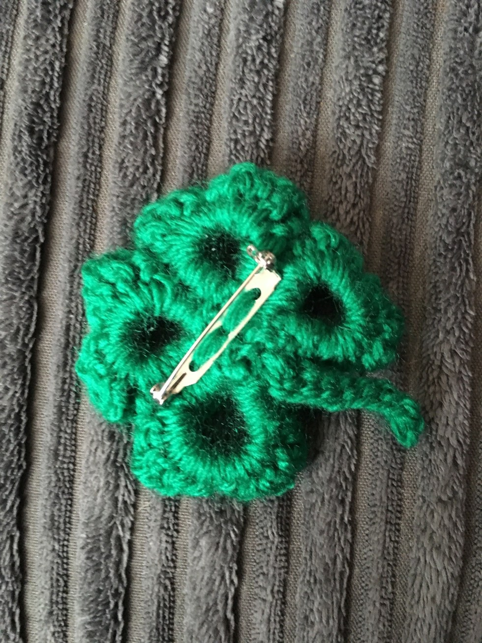 Lucky Four Leaf Shamrock Crochet Brooch Back