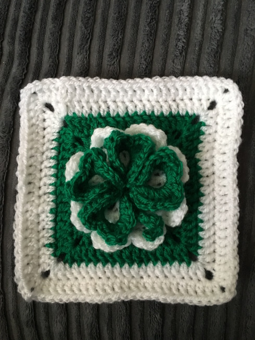 Lucky Four Leaf Shamrock Crochet Granny Square