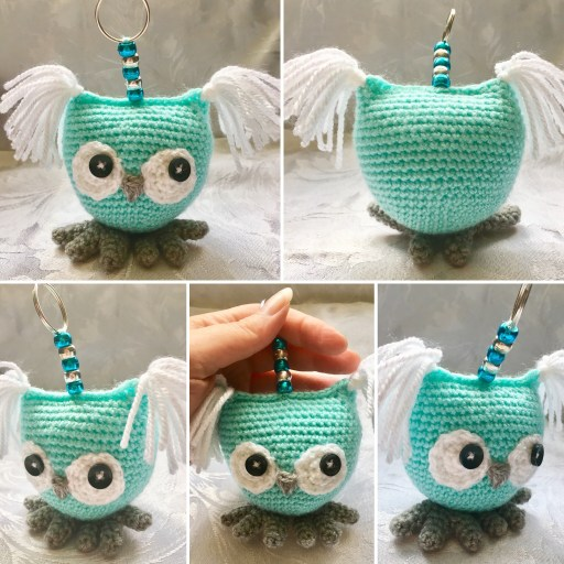 Crochet Owl Keyring Pattern with feet