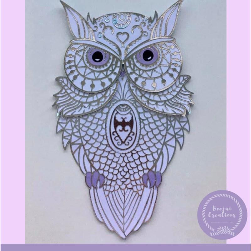 3D Mandala Silver Owl - Layered Free File