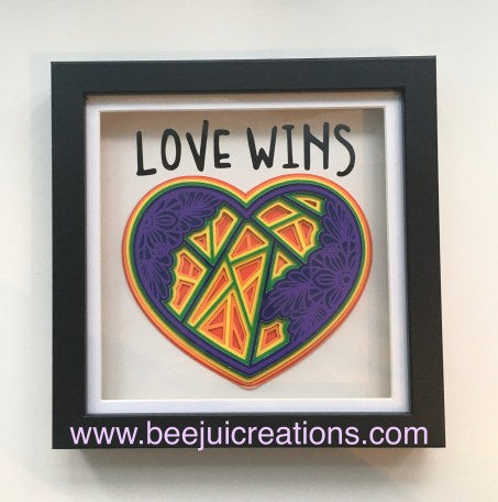 Rainbow 3D Mandala Heart - Love Wins Frame