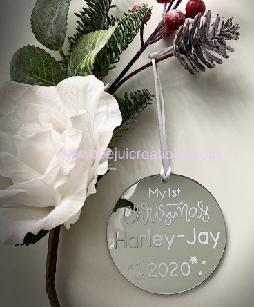 First Christmas Personalised Ornaments - white