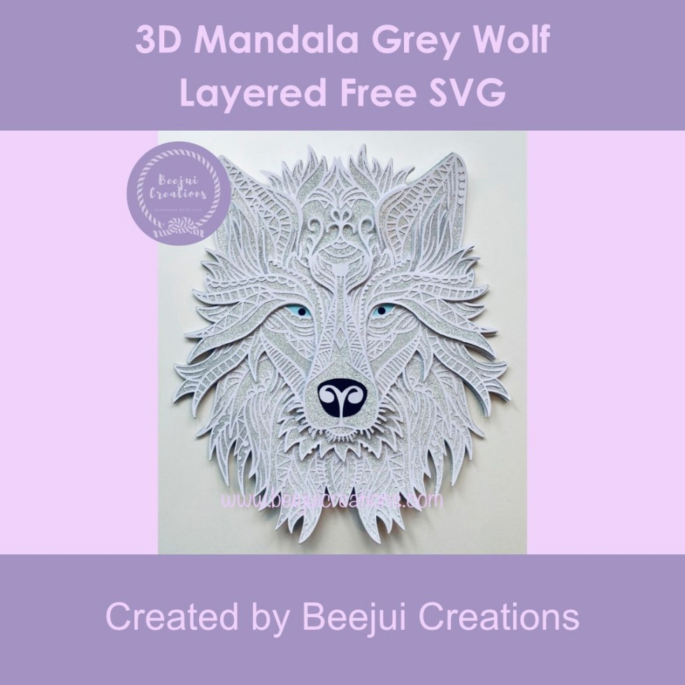 3D Mandala Grey Wolf - Layered Free SVG