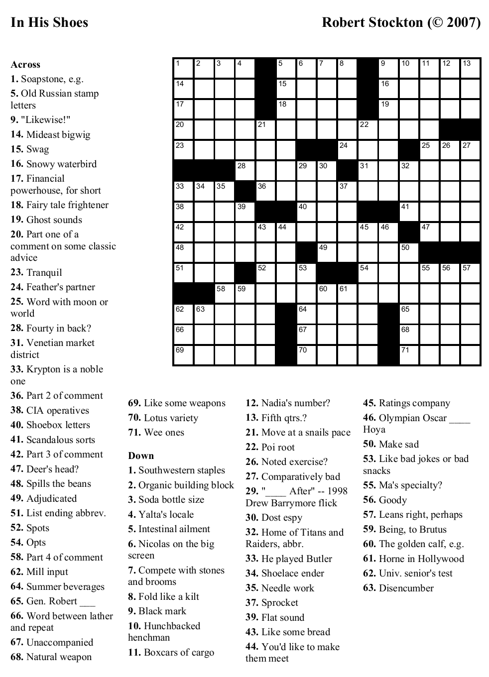 Medical Crossword Puzzles Printable