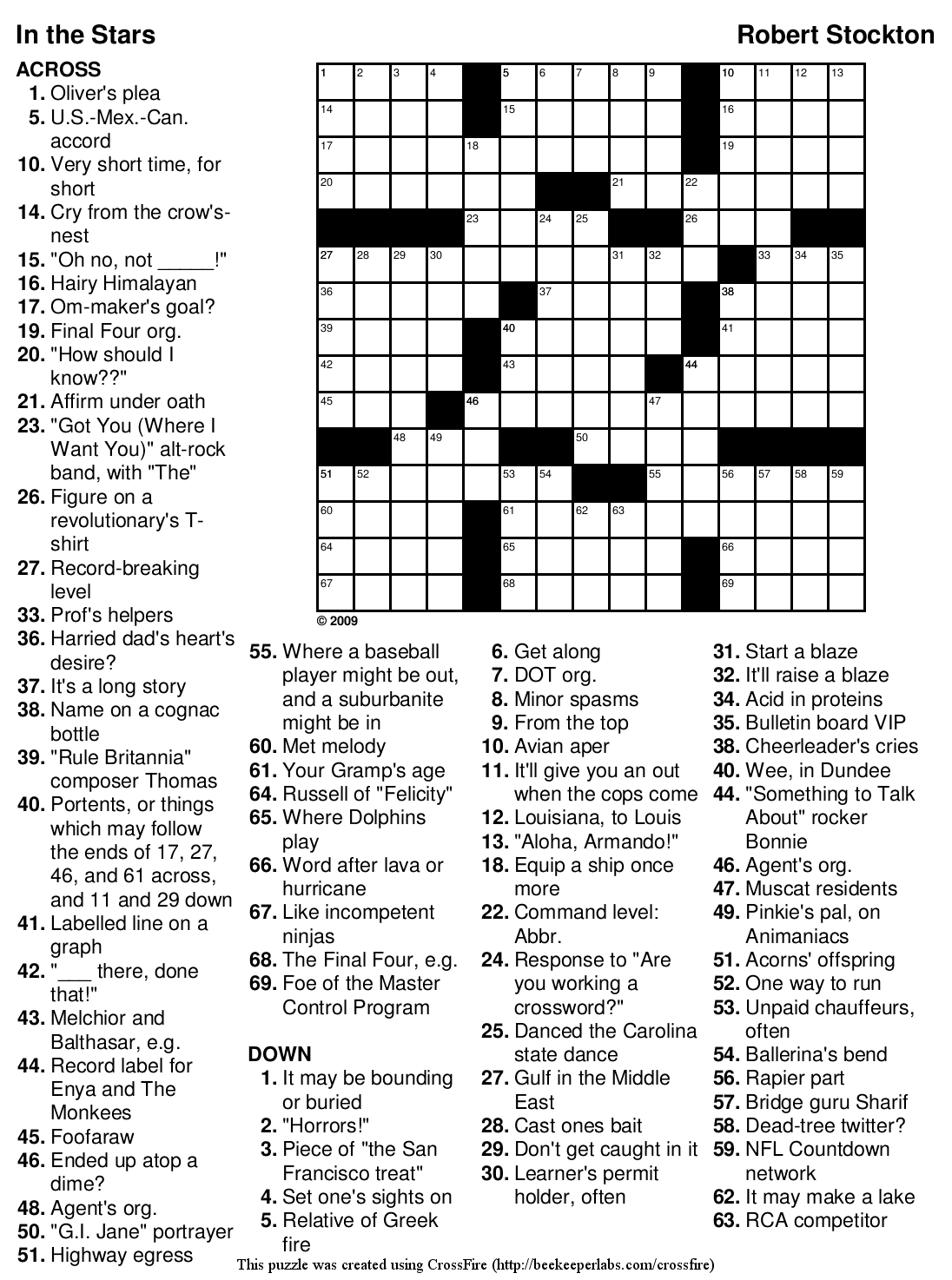 Giant Printable Quick Crossword Puzzle Images