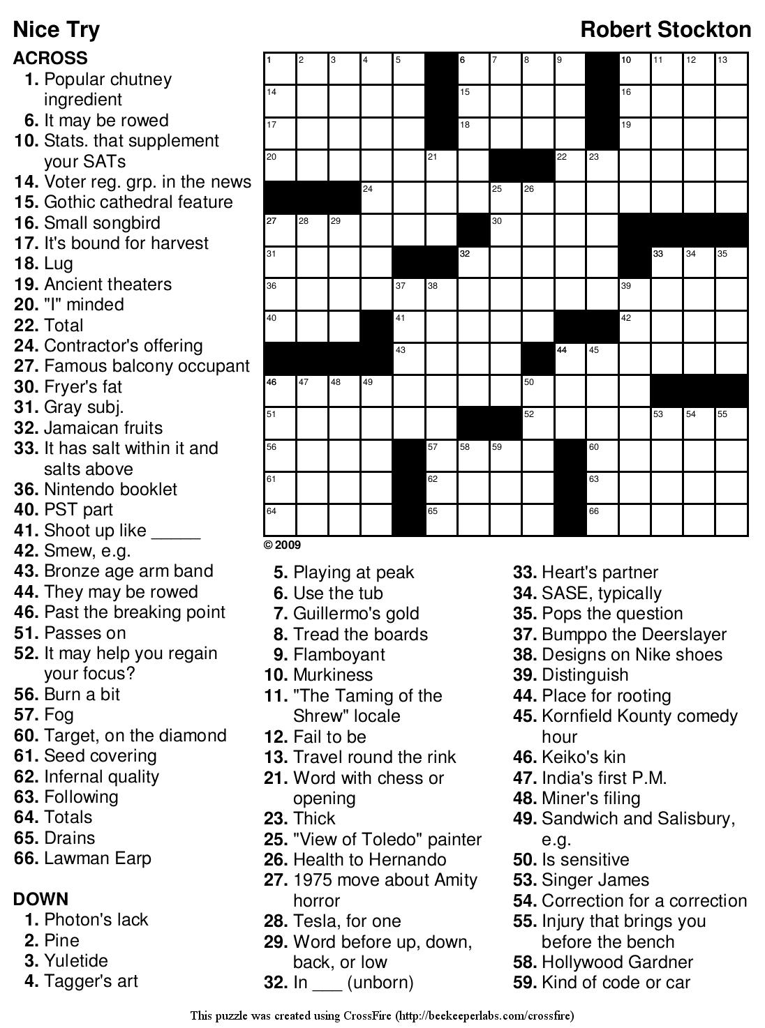 Big Easy Crossword Puzzles