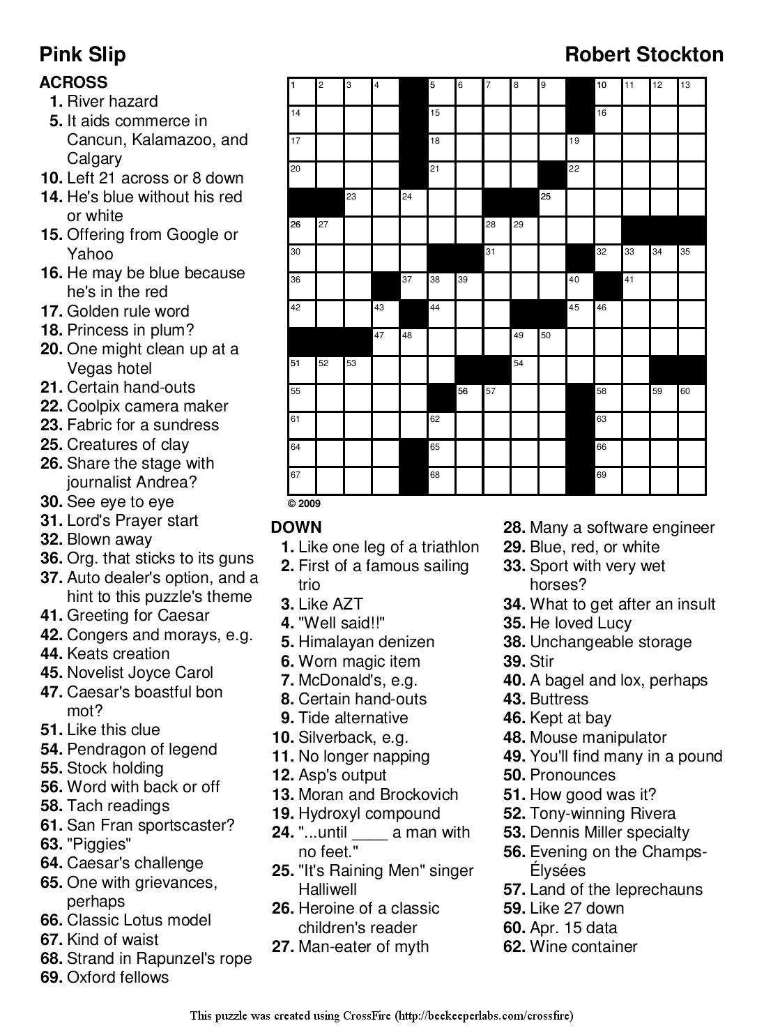 Easy Printable Crossword Puzzels