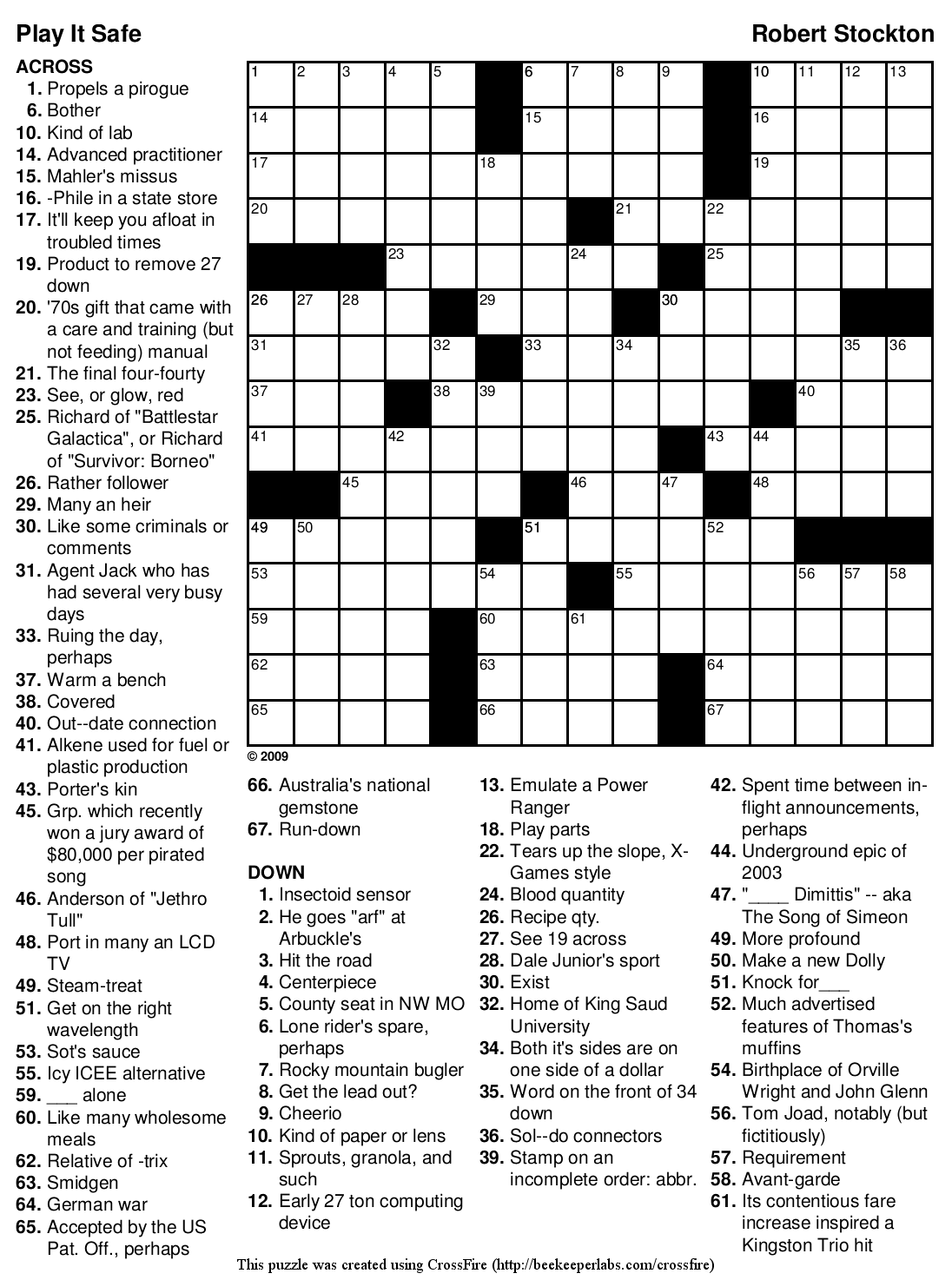 Beekeeper Crosswords Blog Archive Crossword 102 Play It Safe