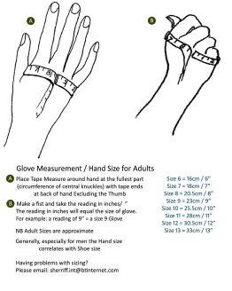Sherriff Glove Size Guide
