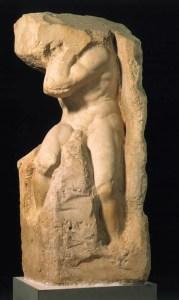 Michelangelo- Slave Atlas. The sculpture is already inside