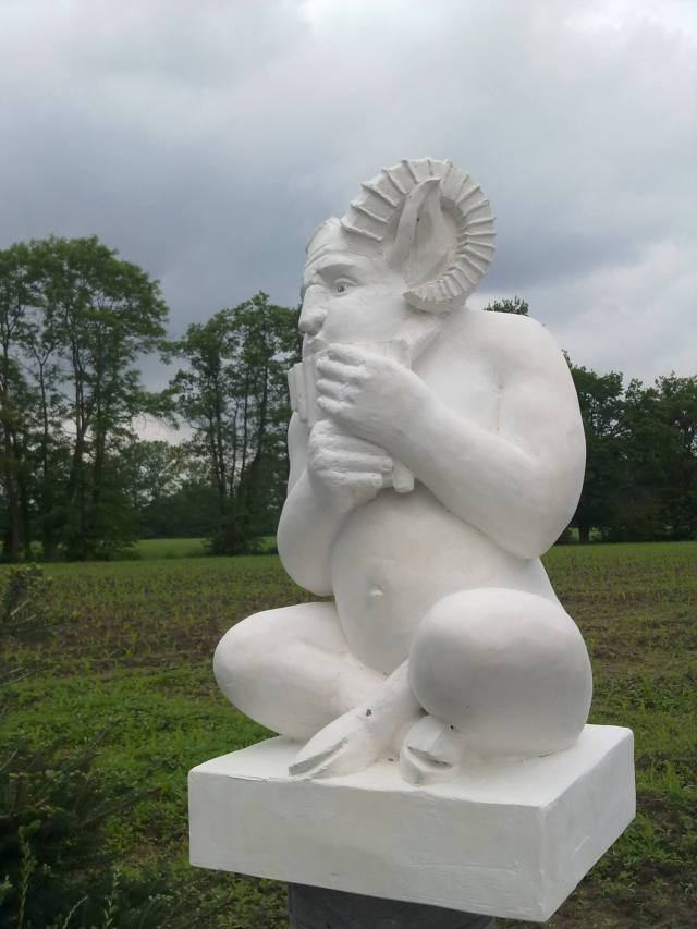 plaster model for a granite garden statue of the forest god Pan