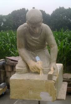 Saw model for stone sculpture of road worker in pirschuim