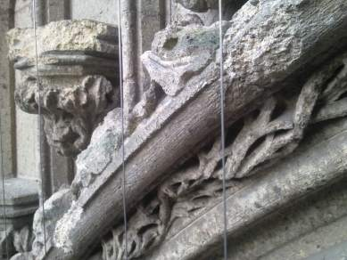 weathering of tufa parts from South Portal Stevenskerk