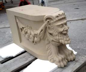 Satyr in sandstone for bench castle Twickel / sandstone sphinxes