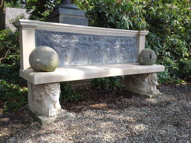 Garden bench with lead relief and new sandstone elements
