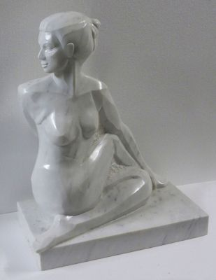Statue of yoga pose Ardha Matsyendrasana in Carrara marble