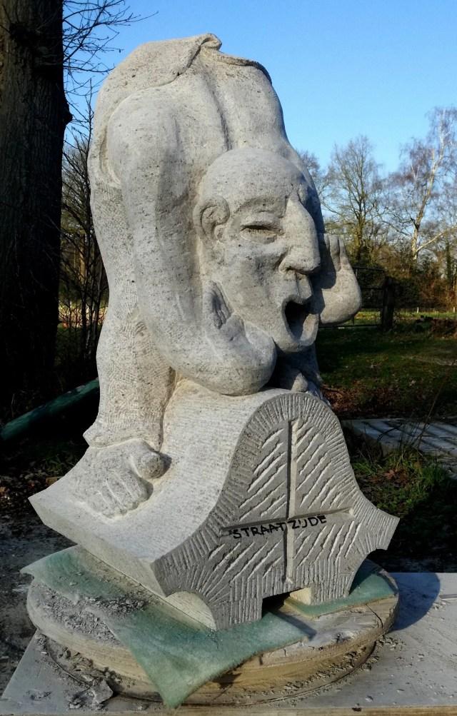 Copy in Muschelkalk limestone of Flying buttress figurine of Noachroeper (Man calling Noah)