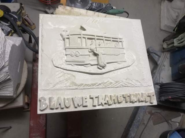 A plaque in the making for the Blue Tram street in Haarlem