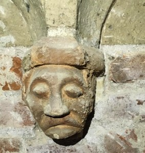 medieval corbel with head