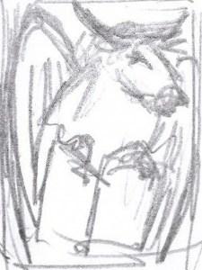 schetsje voor kraagsteen met stier