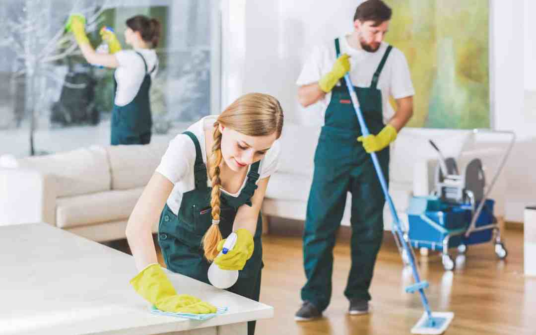 Cleaning service employees with professional equipment cleaning a private home