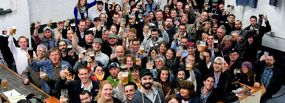 Crowd celebrating Beer'd Brewing Anniversary