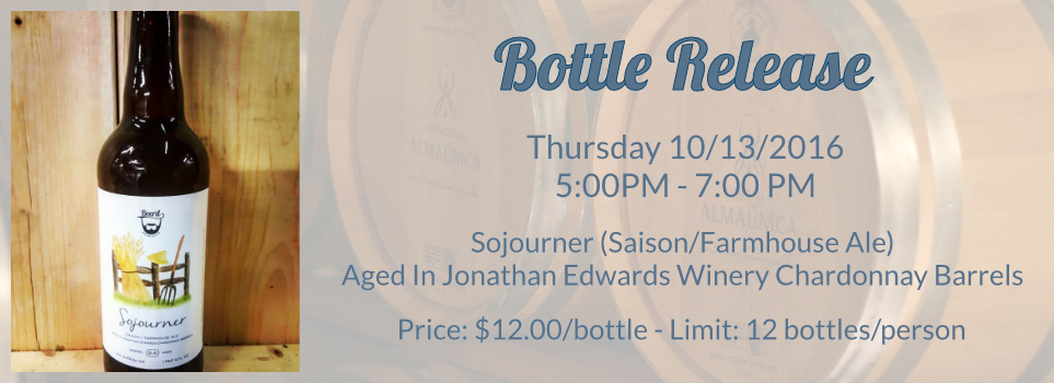 Sojourner (Saison/FarmHouse Ale) Bottle Release