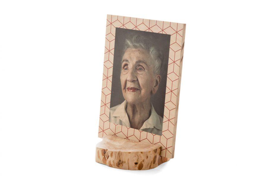 foto op hout houder boomstam met fotopaneel