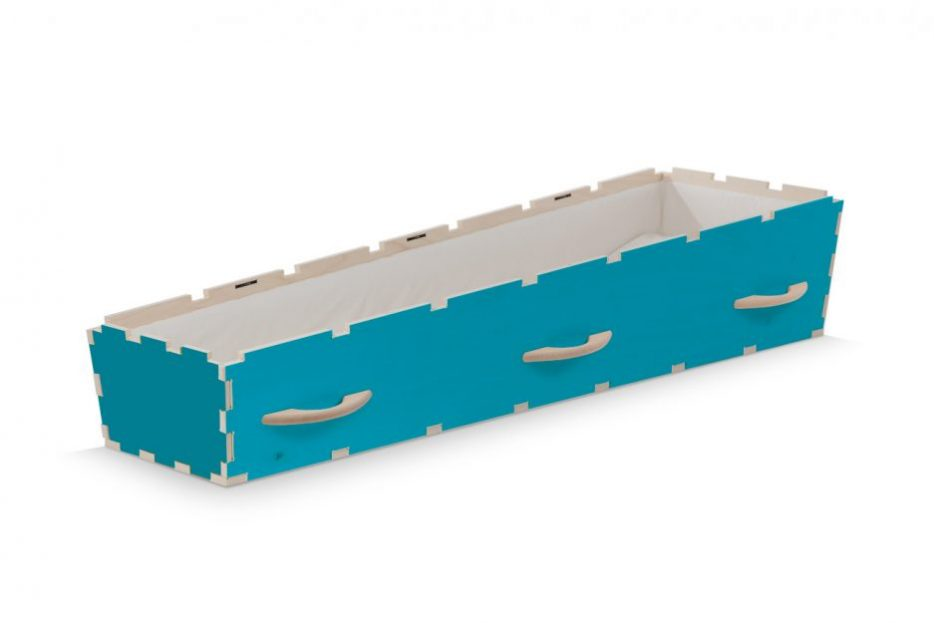 Uitvaartkist doodskist kleuren blauwe met gele deksel Beerenberg open
