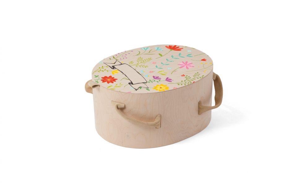 persoonlijk kleur, print ontwerp prematuur Kinder uitvaart Nana kistje rond ontwerp bloemen-II