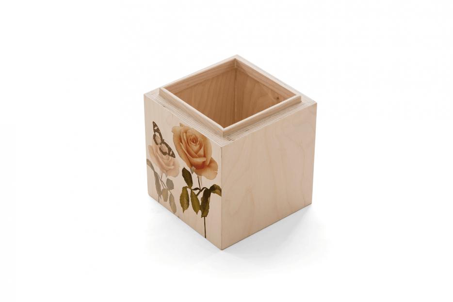 hout urn, urn polygoon hout rechthoek print bloem zwart Beerenberg persoonlijk