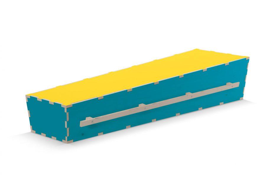 Bijzondere DIY doodskist, kleur blauw, Beerenberg uitvaartkist
