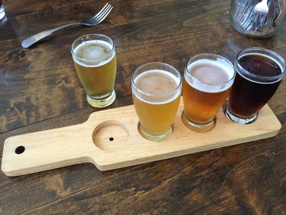 Beer tasting flight at Golden Road Brewing, Los Angeles, California, September 14, 2013.