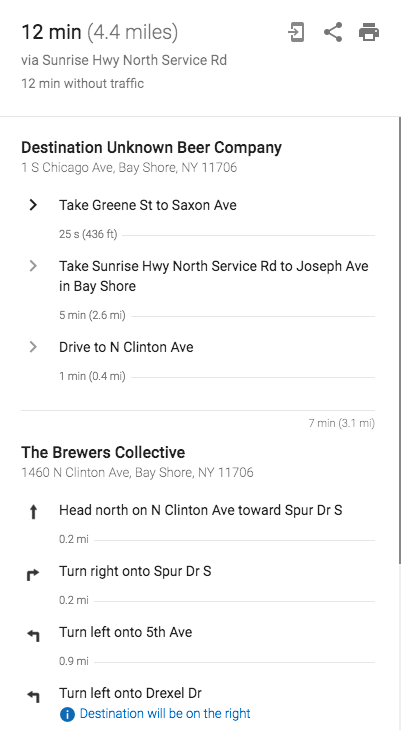 Directions for Bayshore Brewery Crawl